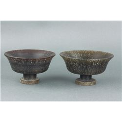 Pair Chinese Horn Carved Cups