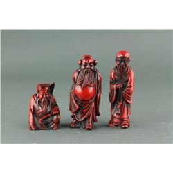 Chinese Moulded Red Coral-like Three Immortals