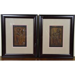 Antique Framed Chinese Pair of Camphor Wood Panels