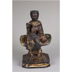 Chinese Ming Period Wood Carved Seated Bodhisattva
