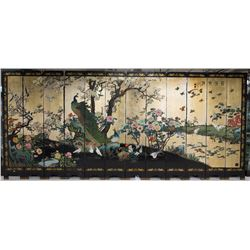 12 Panels of Lacquer Gold Screen w Cranes 1980