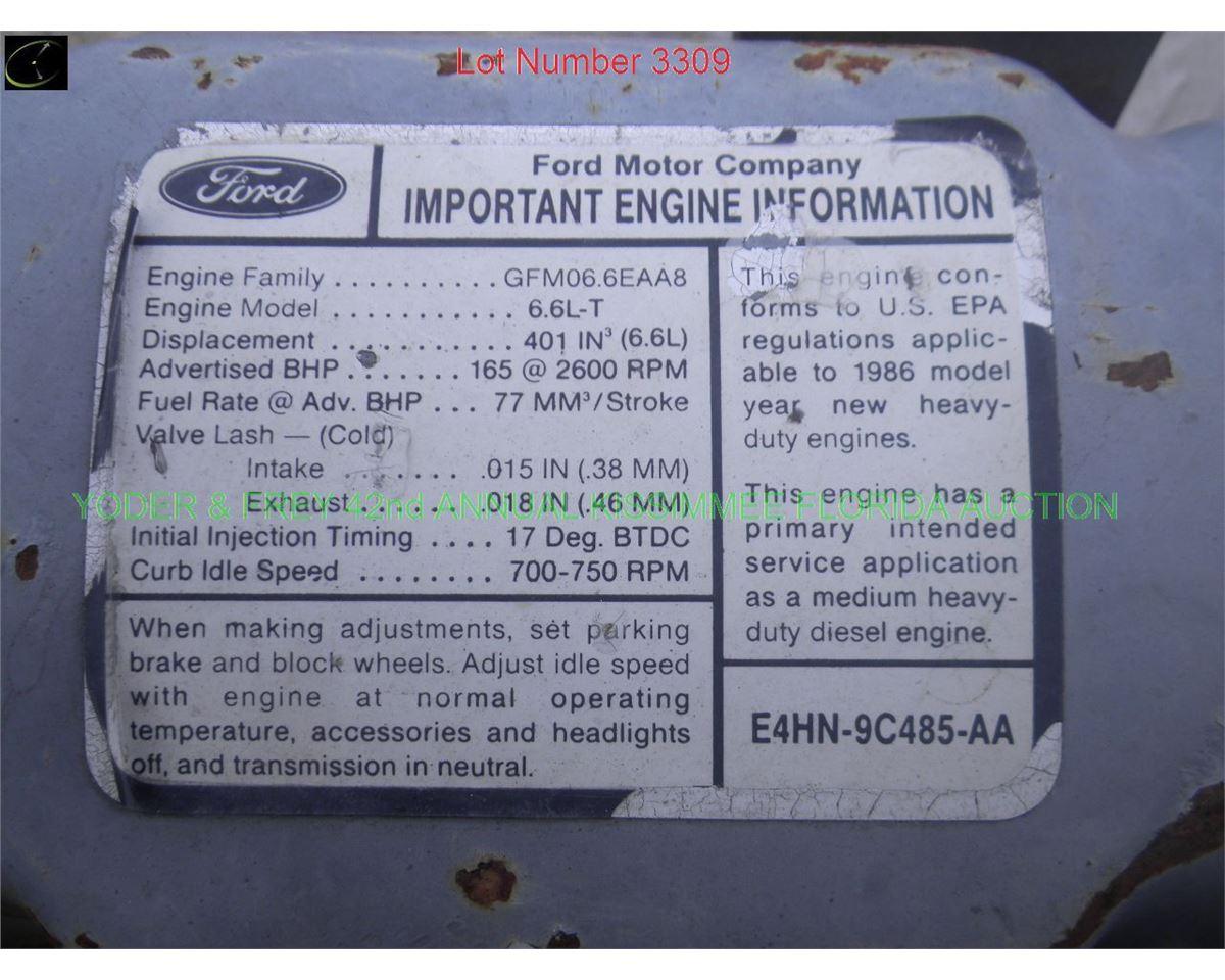 Ford / New Holland 6 6 Diesel Engine, Sn  VX001074  (9165)