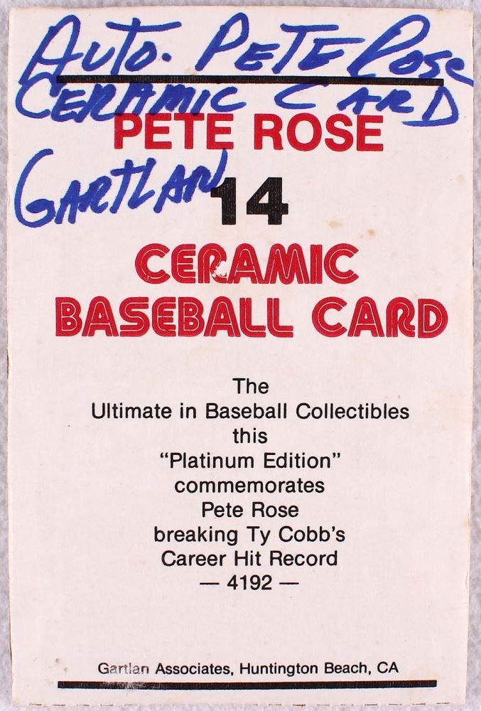 PETE ROSE CERMAMIC GARTLAN USA BASEBALL CARD SIGNED AUTOGRAPH AUTO //4192