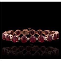 14KT Rose Gold 28.72 ctw Ruby and Diamond Bracelet