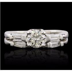 Platinum 0.84 ctw Diamond Ring Wedding Set