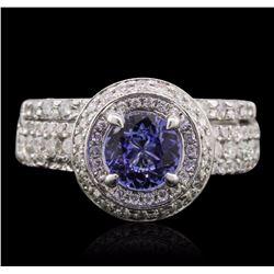 14KT White Gold 0.78 ctw Tanzanite and Diamond Ring