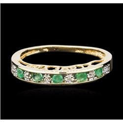 10KT Yellow Gold 0.30 ctw Emerald and Diamond Ring