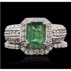 14KT White Gold 1.20 ctw Emerald and Diamond Wedding Set