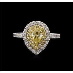 1.08 ctw Yellow Diamond Ring - 14KT White Gold
