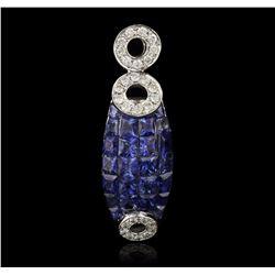 14KT White Gold 1.76 ctw Sapphire and Diamond Pendant