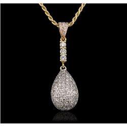 14KT Tri-Tone Gold 0.93 ctw Diamond Pendant With Chain