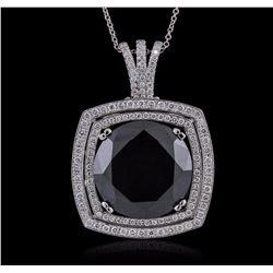14KT White Gold 28.62 ctw Black Diamond Pendant With Chain