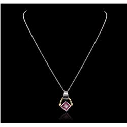 14KT Two-Tone Gold 0.86 ctw Ruby, Sapphire and Diamond Pendant With Chain