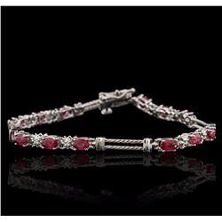 14KT White Gold 3.82 ctw Ruby and Diamond Bracelet