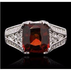 14KT White Gold 3.50 ctw Garnet and Diamond Ring