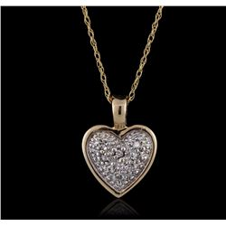 14KT Two-Tone Gold 0.05 ctw Diamond Pendant With Chain