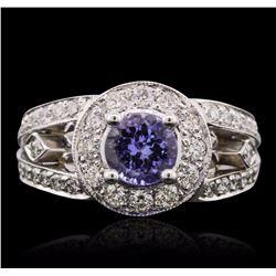 14KT White Gold 1.10 ctw Tanzanite and Diamond Ring