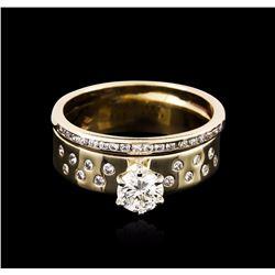 14KT Yellow Gold 0.90 ctw Diamond Wedding Ring Set
