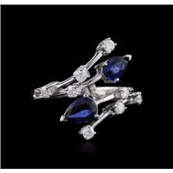 14KT White Gold 2.00 ctw Sapphire and Diamond Ring