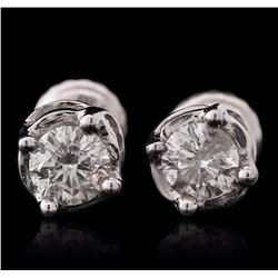 14KT White Gold 0.95 ctw Diamond Solitaire Earrings