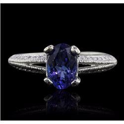 14KT White Gold 1.39 ctw Tanzanite and Diamond Ring