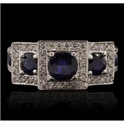 14KT White Gold 0.75 ctw Sapphire and Diamond Ring