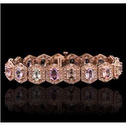 14KT Rose Gold 14.40 ctw Multi-Color Sapphire and Diamond Bracelet