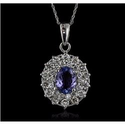 14KT White Gold 1.98 ctw Tanzanite and Diamond Pendant With Chain