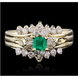 14KT Yellow Gold 0.50 ctw Emerald and Diamond Ring