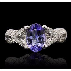14KT White Gold 1.93 ctw Tanzanite and Diamond Ring