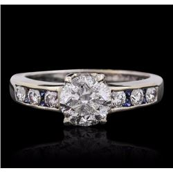 18KT White Gold 2.19 ctw Brilliant Cut Diamond and Sapphire Ring