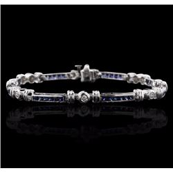 14KT White Gold 2.38 ctw Sapphire and Diamond Bracelet