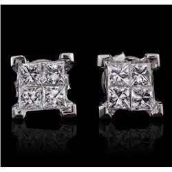 14KT White Gold 1.33 ctw Diamond Earrings