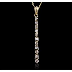14KT Yellow Gold 0.30 ctw Baguette Diamond Pendant With Chain