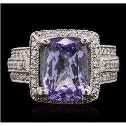Platinum 3.88 ctw Tanzanite and Diamond Ring