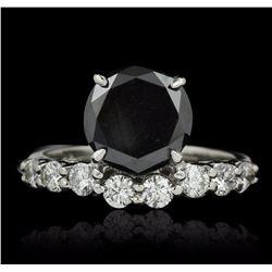 14KT White Gold 3.66 ctw Black Diamond Ring