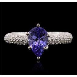 14KT White Gold 1.58 ctw Tanzanite and Diamond Ring