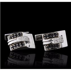 18KT White Gold 0.60 ctw Diamond Cuff Links