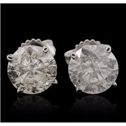 14KT White Gold 4.10 ctw Diamond Stud Earrings