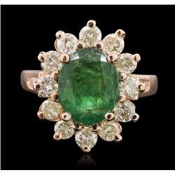 14KT Rose Gold 2.48 ctw Emerald and Diamond Ring