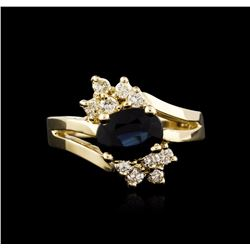 14KT Yellow Gold 1.45 ctw Sapphire and Diamond Ring