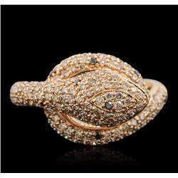 18KT Rose Gold 0.08 ctw Black Diamond and Diamond Ring
