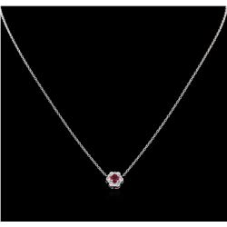 0.20 ctw Ruby and Diamond Pendant With Chain - 14KT White Gold