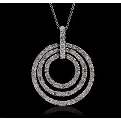 14KT White Gold 1.55 ctw Diamond Pendant With Chain