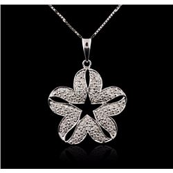 18KT White Gold 0.59 ctw Diamond Pendant With Chain