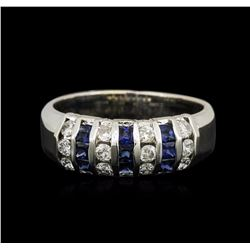 14KT White Gold 0.50 ctw Sapphire and Diamond Ring