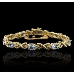 14KT Yellow Gold 10.00 ctw Aquamarine and Diamond Bracelet