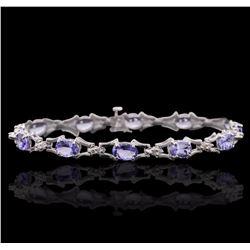 14KT White Gold 5.55 ctw Tanzanite and Diamond Bracelet