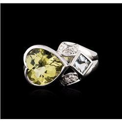 10KT White Gold 3.16 ctw Lemon Quartz and Diamond Ring