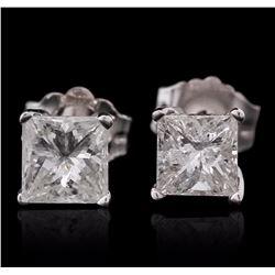 14KT White Gold 0.87 ctw Diamond Solitaire Earrings